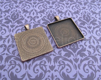 5 - 30mm Square Pendant Trays - Antique Copper Color -  Vintage Style - Pendant Blanks Settings Mix 30 mm 1 3/16 inch