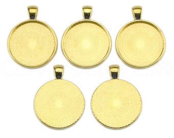 "50 - 1"" Pendant Trays - Gold - 25mm Round Pendant Settings - Vintage Antique Style Pendant Blanks Bezel 25 mm 1"" Diameter"