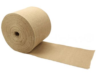 """100 Yards - 6"""" Premium Burlap Roll - Finished Edges - Eco-Friendly Natural Jute Burlap Fabric - For 6 Inch Table Runners & Rustic Decor"""