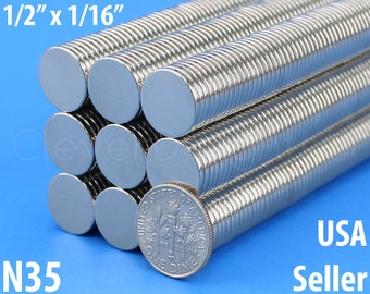 """50 Pk - 1/2"""" x 1/16"""" Neodymium Magnets - Super Strong Rare Earth Disc Magnets - Fridge Scientific Industrial - 13mm x 1.5mm - 1/2 Inch"""