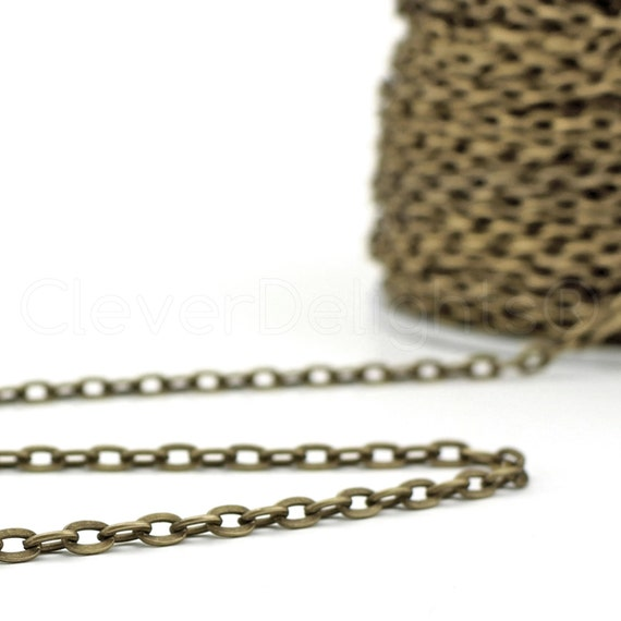 5x7mm Oval Flat Link Rolo Antique Bronze Color Cable Chain Spool 30 Feet