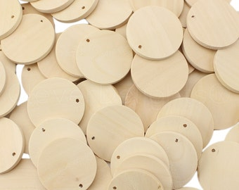 """100 Pk - 1 3/8"""" Unfinished Wood Pendants - Round Wooden Circle Disc - Wood Shapes - Custom Jewelry - Smooth Blanks - 35mm Diameter"""