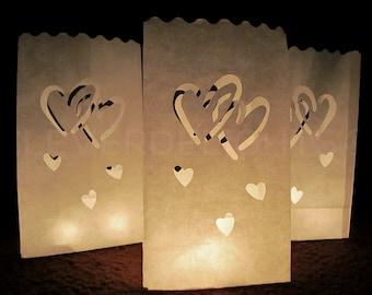 50 Luminary Bags - White - Interlocking Hearts Design - Wedding, Reception, and Party Decor - Paper Candle Bag - Luminaria