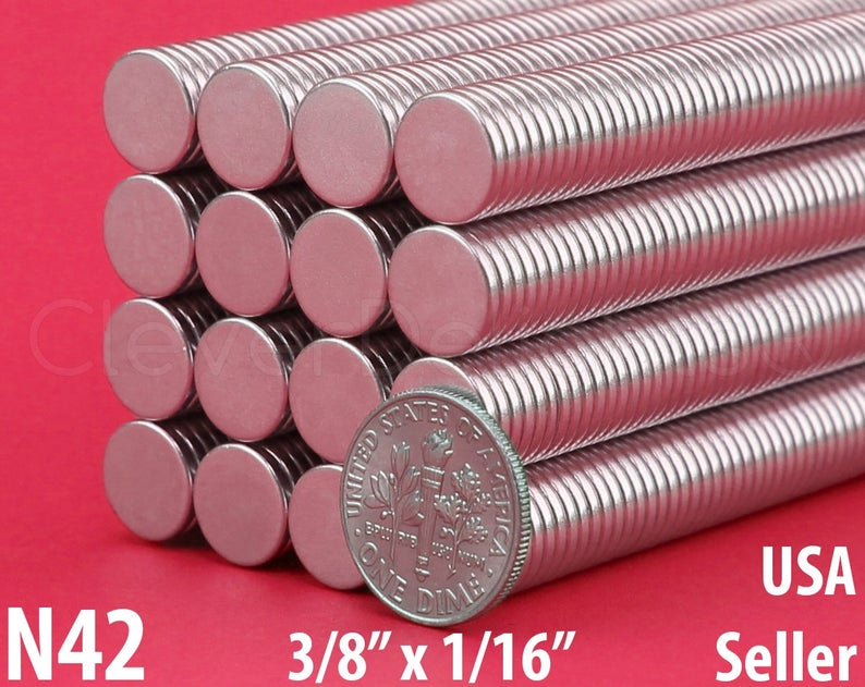 38 x 116 Neodymium Magnets .375 Inch Super Strong Rare Earth Disc Magnets 50 Pk Fridge Scientific Magnets 10mm x 1.5mm N42