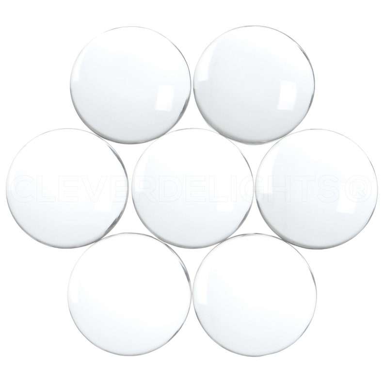 30mm 20 Pack 1 316 Round Glass Cabochons Clear Transparent Round Solid Glass Magnifying Cabs 1 316 Inch