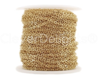 100 Ft - 2x3mm Champagne Gold Cable Chain Spool - For Necklaces Jewelry - 2mm x 3mm Oval Links