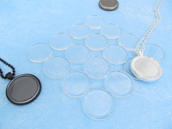 Clear Glass Tiles 2 Flat Sides 25 CleverDelights 20mm Round Glass Tiles 25//32 Inch Rings Necklaces Cameo Jewelry For Photo Pendants 20 mm