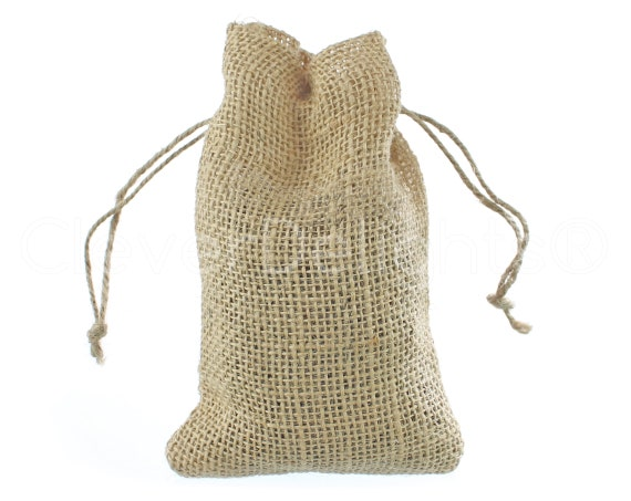Medium Burlap Pouch Sack Favor Bag for Showers Weddings Parties and Receptions 100 Pack 6x10 inch CleverDelights 6 x 10 Burlap Bags with Natural Jute Drawstring