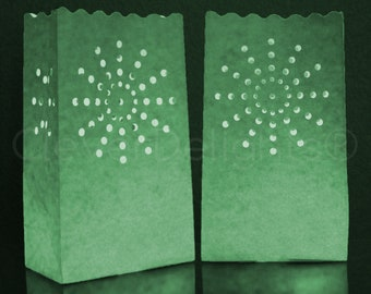 20 Green Luminary Bags - Paper Christmas, Holiday, Party and Event Decor - Luminaria Candle Tealight Bag