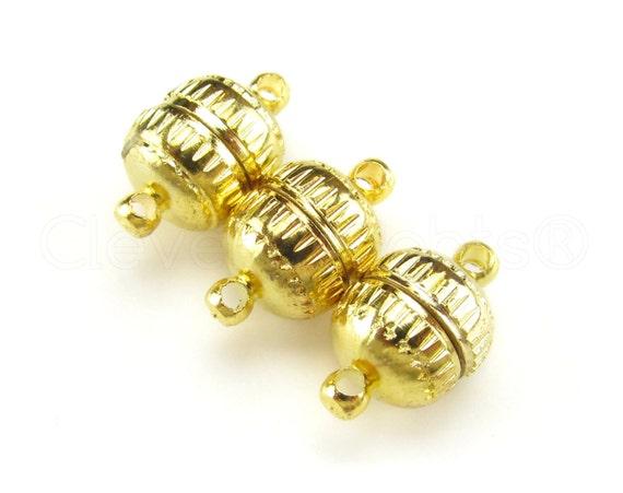 Gold Color 6 Magnetic Clasp Converters Deco Drum Style Necklace Bracelet