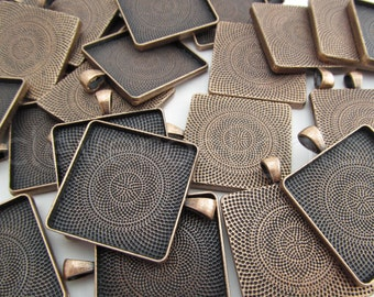 50 - 30mm Square Pendant Trays - Antique Copper Color -  Vintage Style - Pendant Blanks Settings Mix 30 mm 1 3/16 inch