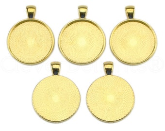 "10 - 1"" Pendant Trays - Gold - 25mm Round Pendant Settings - Vintage Antique Style Pendant Blanks Bezel 25 mm 1"" Diameter"