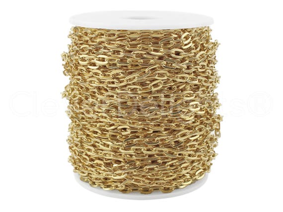 330 Feet Champagne Gold Color Cable Chain Spool 5x7mm Oval Flat Rolo Link