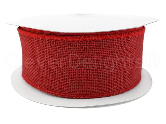 "2.5/"" Navy Blue Burlap Ribbon Super-Fine Weave Finished Edges 25 Yds Wired"