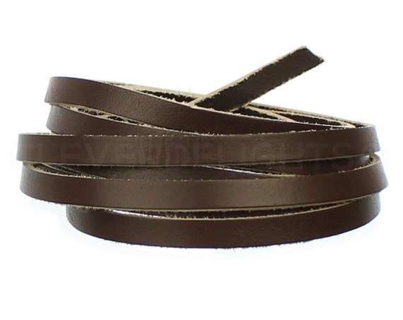 CleverDelights 1//4 Genuine Leather Flat Cord 6mm Cowhide Leather Strap 10 Feet Brown