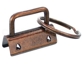 """25 Sets - 1.25"""" Key Fob Hardware With Key Rings - Antique Copper Color - For Lanyards Keychains Straps - KeyFob Hardware - 1 1/4 Inch - 32mm"""