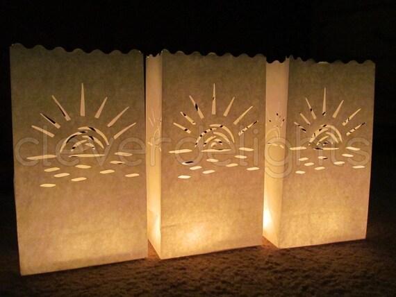 Sunburst Design Party Wedding Flame Resistant Paper 20 Luminary Bags White and Event Decor Twenty Bags Luminaria Reception