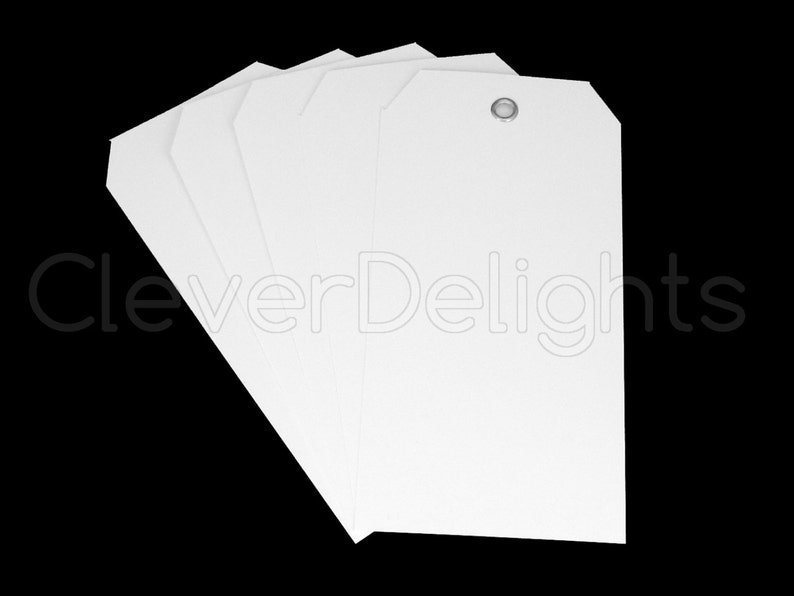 50 White Plastic Tags 4 75