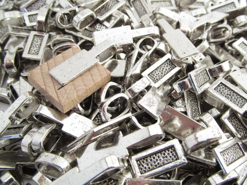 100 Tag Bails Scrabble Glass Pendants Crafts Glue On Shiny Silver 26x8mm