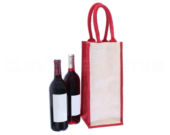"14/"" Burlap Wine Bags with Drawstring 100/% Natural Jute Burlap 14/"" x 5/"" 2 Pk"
