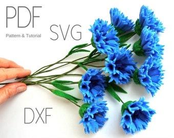 Corn flower faux bluebottle felt flower pattern spring farmhouse decor bachelor's button PDF SVG DXF