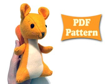 Felt Squirrel Toy Pattern Felt Forest Animal Felt Squirrel Pattern Soft Squirrel Pattern Felt Animal Pattern Soft Toy Pattern Felt Animal