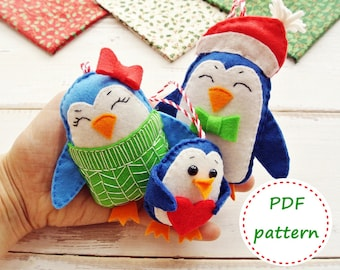 Felt Penguin Family, Felt Patterns, Penguin Pattern, Felt Ornament Pattern, Christmas Ornaments, Felt Tutorial, Penguin Tutorial