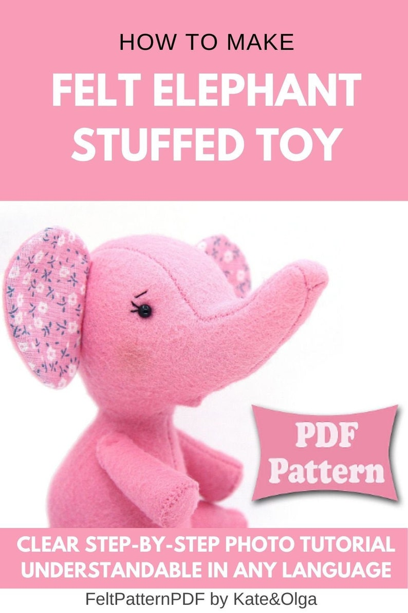 Elephant doll sewing pattern felt elephant toy elephant image 0