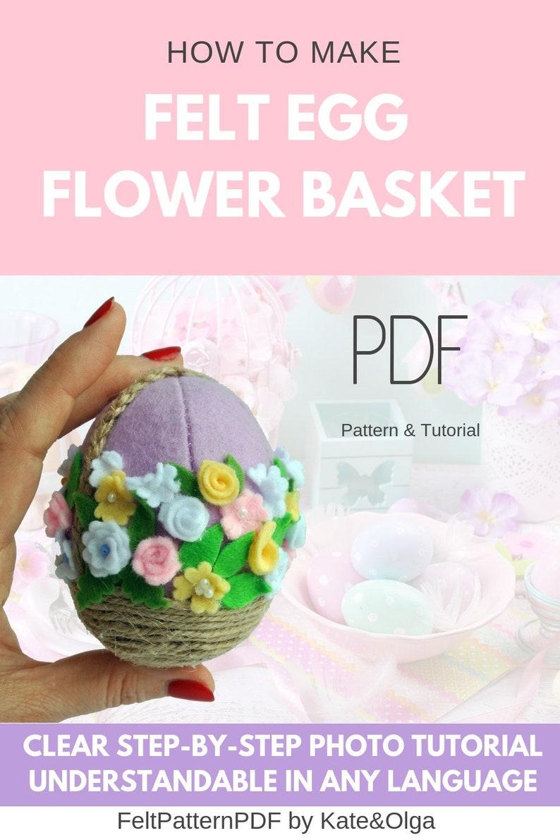 Felt Egg Flower Basket Pattern Felt Ornament Pattern Easter Egg Felt Pattern Easter Ornament Egg Pattern Easter Egg Pattern