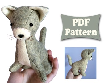 Felt Cat, Cat Pattern, Felt Pattern, Soft Cat Pattern, Felt Doll Pattern, Felt Animal Patterns, Soft Felt Toy Pattern, PDF sewing patterns