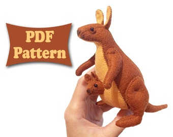 Felt Kangaroo, Kangaroo Pattern, Felt Pattern, Felt Doll Pattern, Felt Animal Patterns, Soft Felt Toy Pattern, PDF sewing patterns