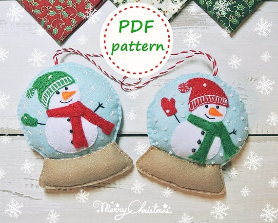 Etsy Christmas Ornaments.Felt Snowglobe Snowman Pattern Felt Christmas Ornaments Pattern Snowglobe Tutorial Christmas Snowman Felt Pattern Snowman Ornament Felt Diy