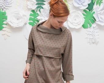 Kimono Kleid, Frühlings Kleid, Oversized Kleid, Knielanges Kleid, Kleid Baumwolle, Minimalistisch, Gepunktetes Kleid, Khaki Grünes Kleid