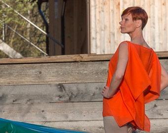 Orange Summer Top, summer blouse, silk tunic, Modern blouses shirt, blouse top, Oversized summer tunik, summer uppers