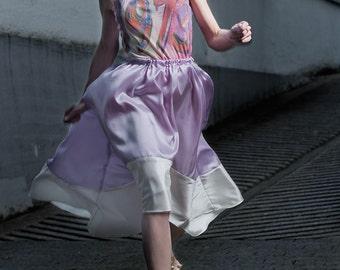 Purple Maxi skirt, Boho skirt, Asymmetric skirt, Sex and der City like skirt, silk skirt, palePurple skirt,elegant skirt, Maxi wedding skirt
