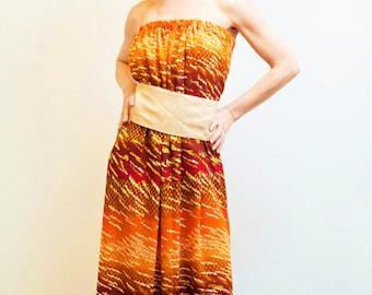 Dress Shobana, maxi dress,  summer dress,  Maxi oversized dress, summer dress, Orange Boho chick dress, party dress, chiffon dress