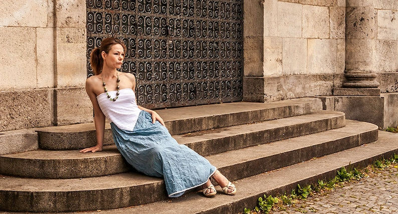Blue silk dress maxi dress open shoulder dress boho dress image 0