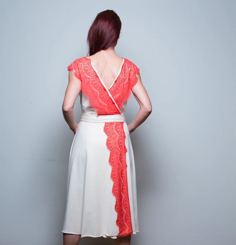 White dress weddingdress Boho Dress Summer Dress Red lace image 0