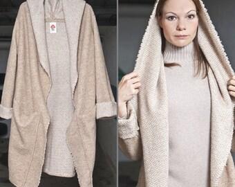 Chunky Wool Sweater, Oversized Coat, Hooded sweater coat woman