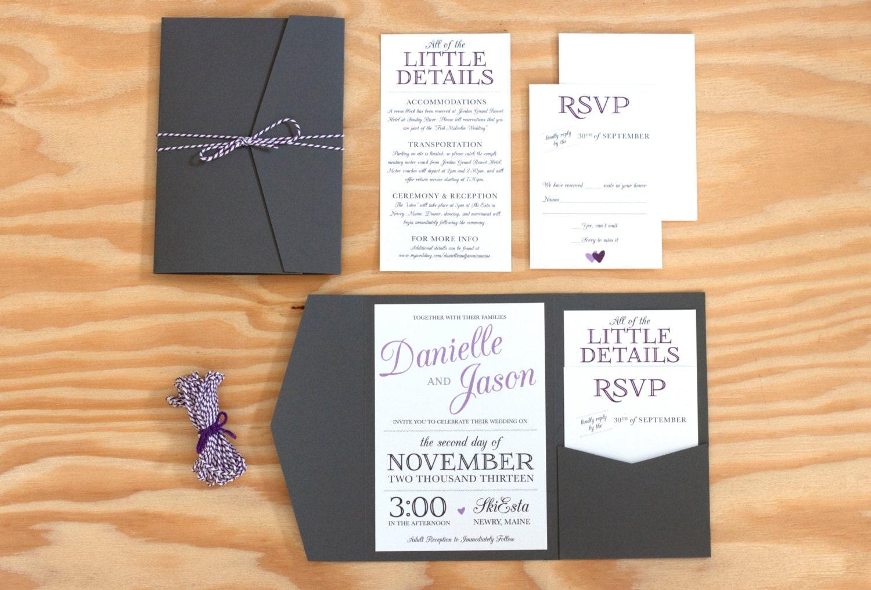 Pocket Wedding Invitation Packaged Wedding Invitation Etsy
