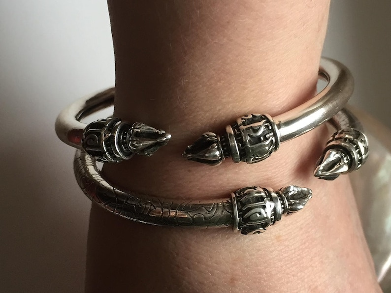Unisex sterling silver torque cuff bangle in smooth polish finish with stunning temple tip end caps tribal bohemian health love /& abundance