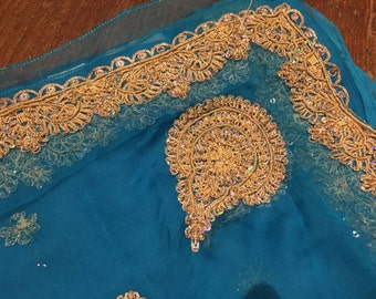 Divine Fabric Blue with gold embroidery