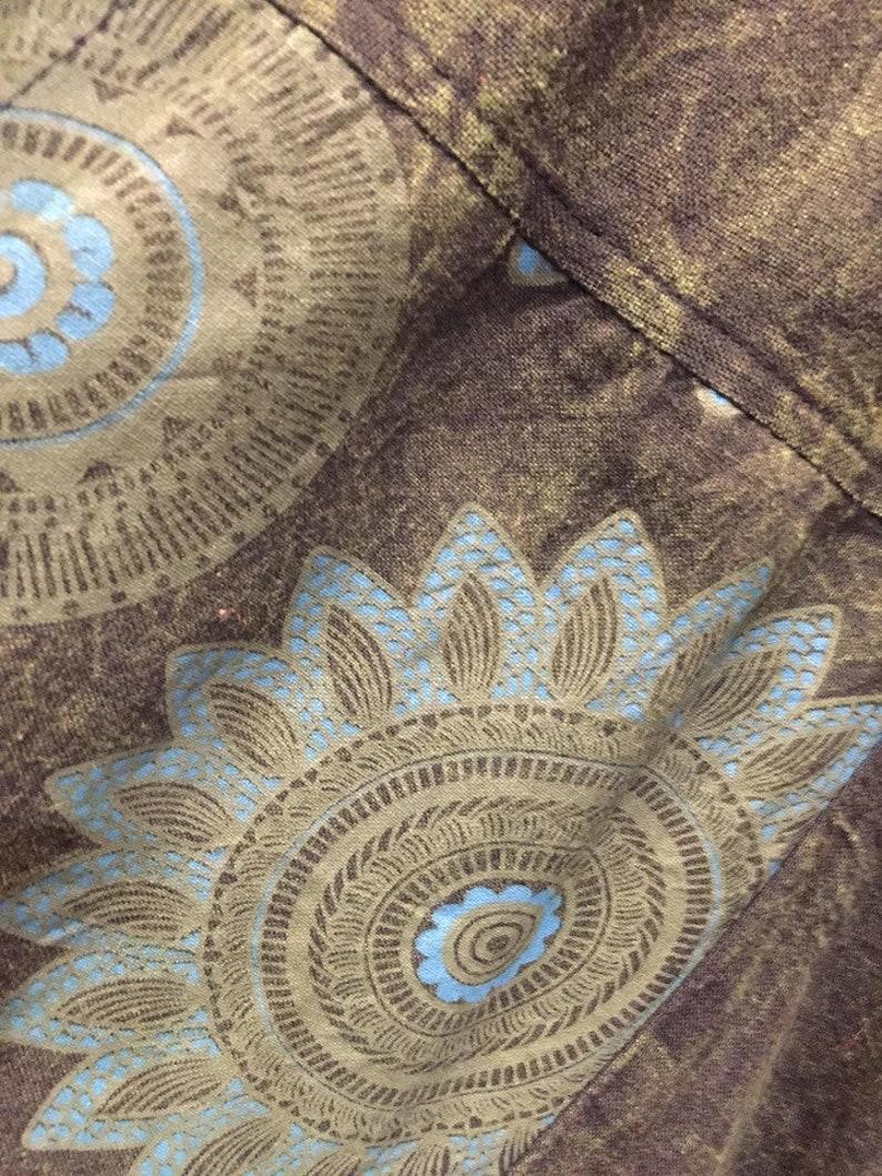 Heavy cotton Mandala tribal bold print unisex bohemian harem trousers hippy yoga new age meditation fractal unisex