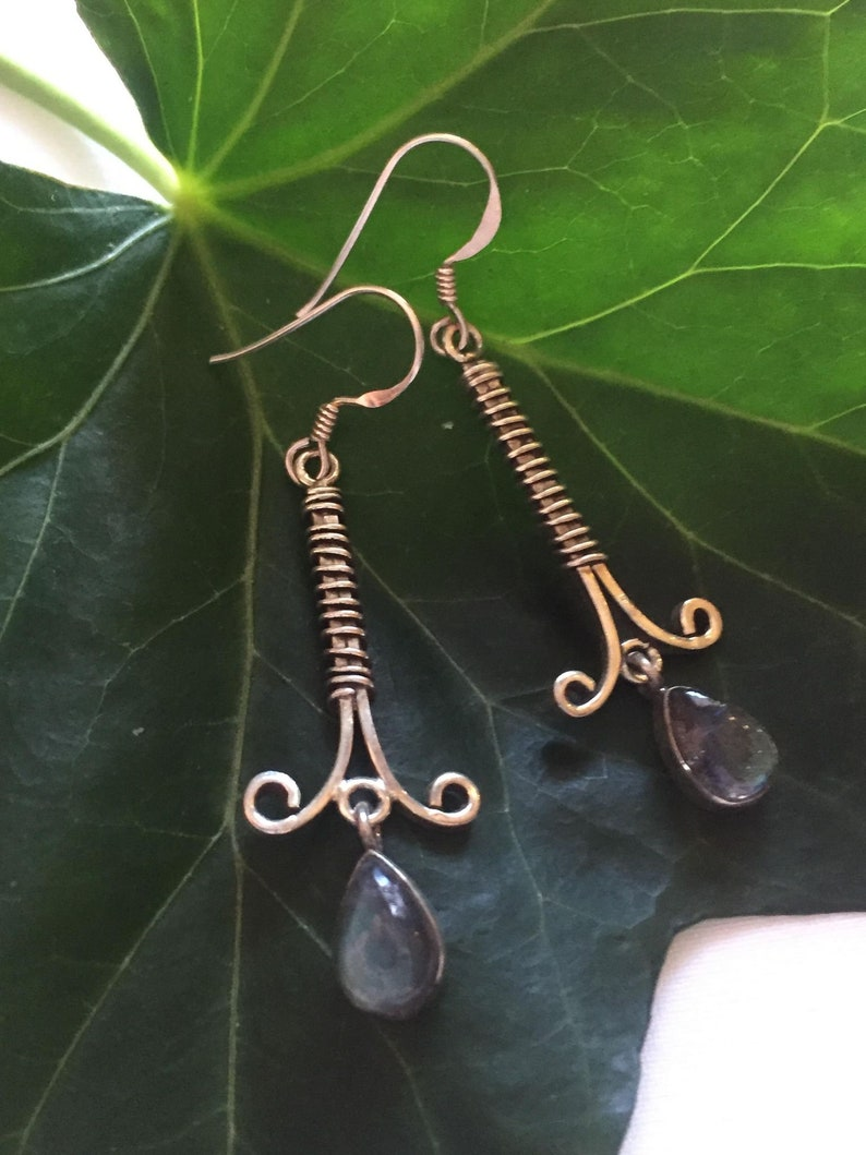925 Sterling Silver wire wrapped dropper earrings set with magical labradorite stones for spiritual connection and meditation growth boho
