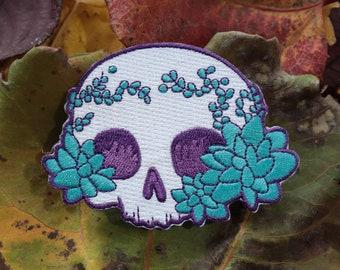 Succulent Chibi Skull Iron-On Patch