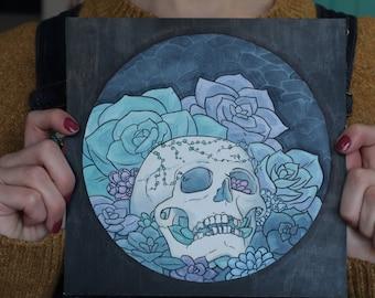 Succulent Skull | Watercolour Painting