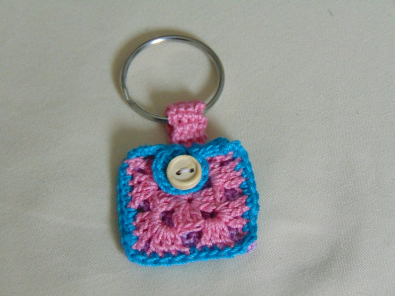 Lavender pink and blue Crochet Keychain Quarter Keeper