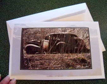 Old rusty car note card