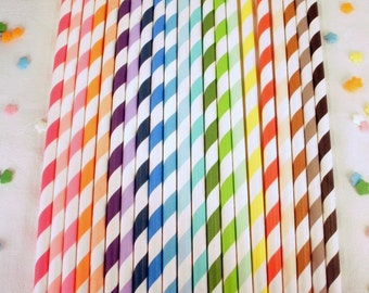 50 Striped Paper Straws - Your Choice of Colors