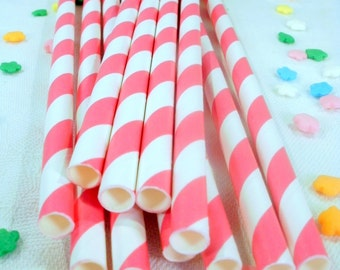 50 Hot Pink Striped Paper Straws